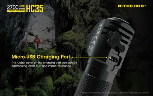 Nitecore HC35 Rechargeable LED Headlamp Combo 2700Lm w//NL2150HPi /& A1 Charger