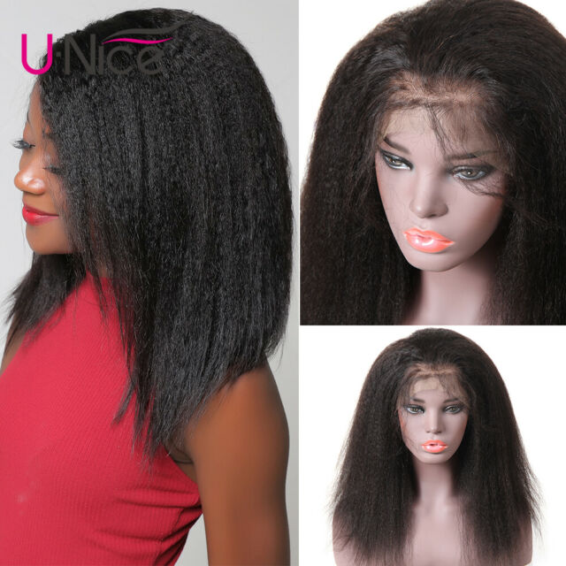 14inch Yaki Kinky Straight Wig Brazilian Human Hair Lace Front Wigs 130 Density For Sale Online Ebay