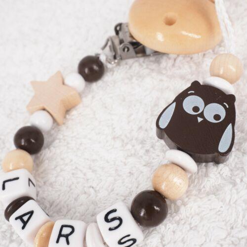 Cadena del chupete con nombre lechuza estrella joven naturaleza marrón Baby regalo nacimiento