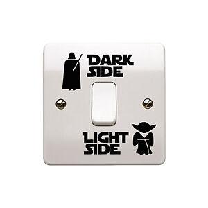 4-x-Star-Wars-Luce-Laterale-Lato-Oscuro-interruttore-della-luce-in-Vinile-Decalcomania-Sticker