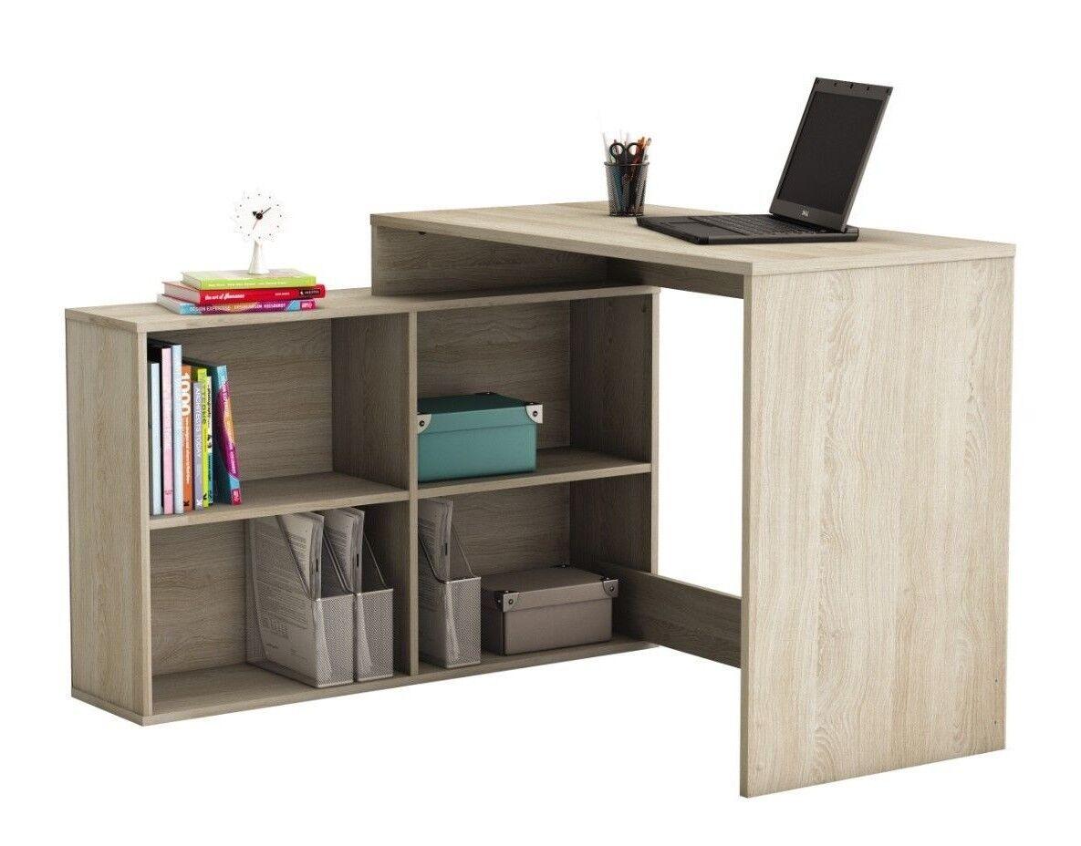 Mesa de ordenador, escritorio juvenil con estanteria baja en color roble shannon