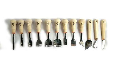 12er Set Schnitzmesser Nr 2 Kerbeisen Schnitzwerkzeug handgeschmiedet schnitzen