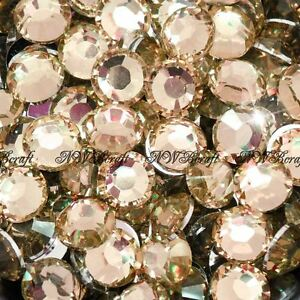 Champagne-1000pcs-Resin-Rhinestones-Beads-Flat-Back-Diamante-Nail-Art-Craft-Gems