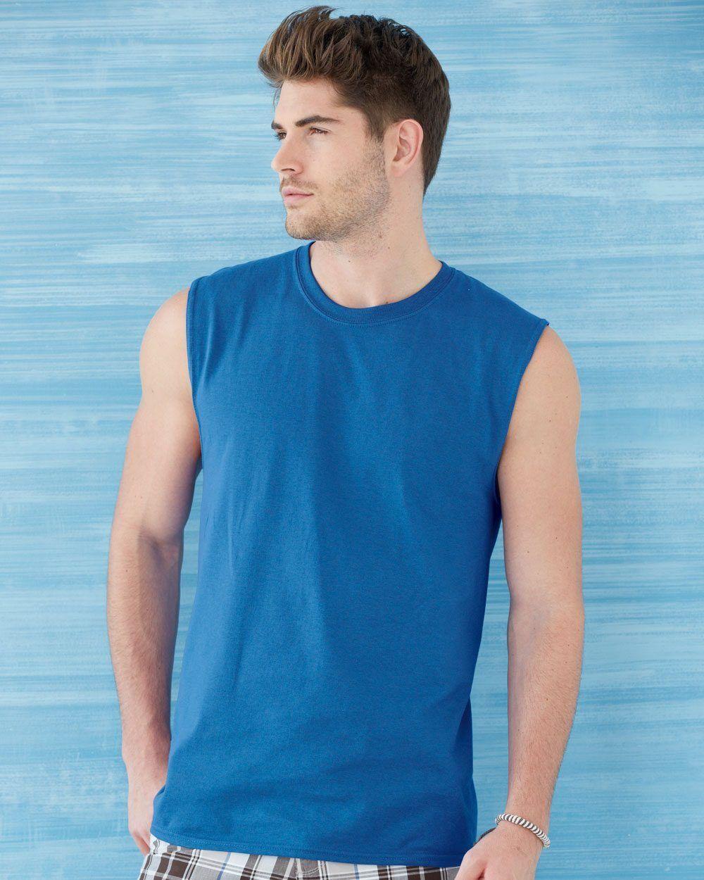 25 Blank Gildan Ultra Cotton Sleeveless T-Shirt Bulk Lot ok to mix S-XL & colors