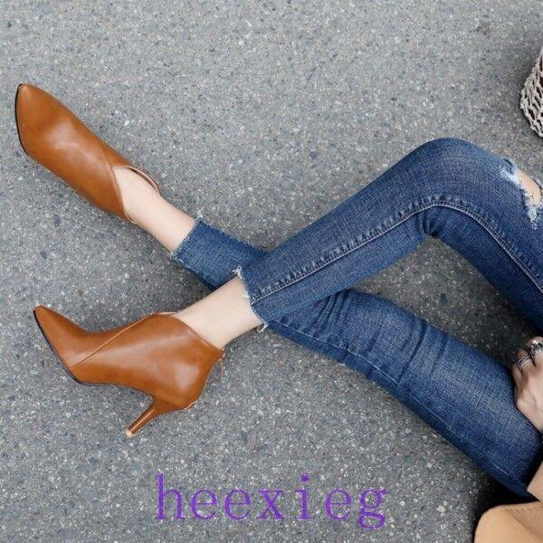 ed44e694553428 Femme Stiletto Haut Talon Fermeture Éclair Arrière Cuir verni Chaussures  Compensés à bout pointu Bottines