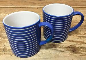 Denby Intro Blue Stripe Cobalt Royal 2 Coffee Mugs White Bands ...