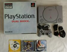 ☆ Sony Playstation 1 Dual Shock Console Bundle Complete in Box & 3 PS1 Game Lot