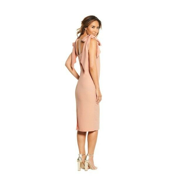 BNWT MYLEENE KLASS blueSH PINK CREPE BOW SHOULDER DRESS SIZE RRP