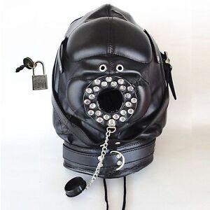 Leather bondage helmet