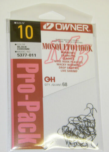 OWNER MOSQUITO HOOK FINE WIRE #5377-011 SZ 10 QTY 68 Pro Pack Bass hooks