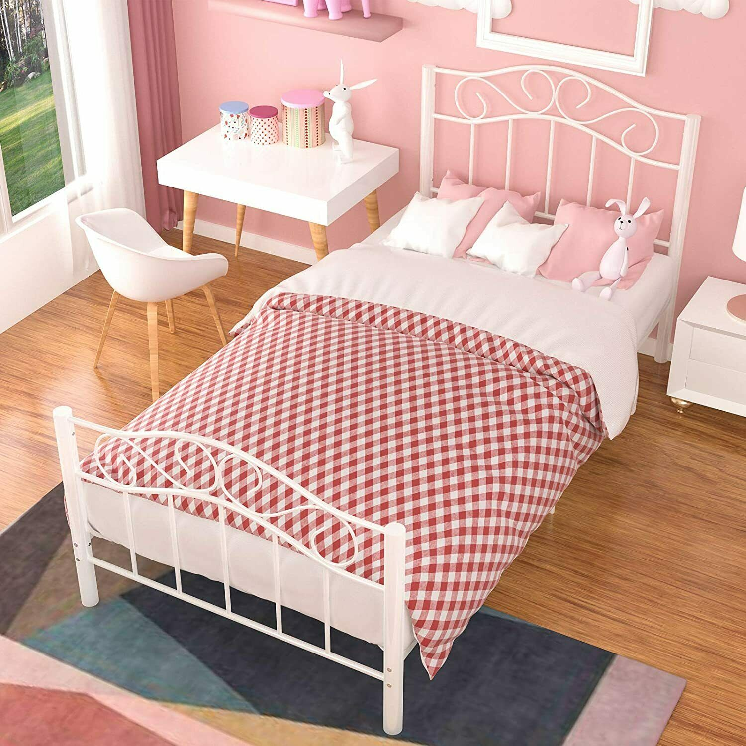 Metal Bed Twin Size Headboard Footboard Cherry Bronze Finish Bedroom Furniture For Sale Online Ebay