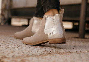 d49338fb86134a TOMS Desert Taupe Suede Metallic Women s Ella Booties Shoes. Style ...