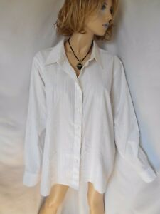 New ALEX MARIE 24W White/Gold Striped Button Down Shirt Blouse ...