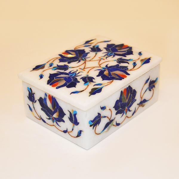 Marble ring Box Semi Precious Stones floral inlay handmade Work home decor
