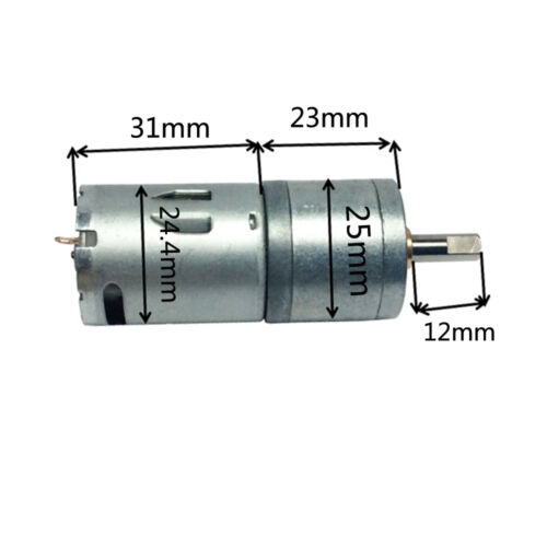 25GA370 DC 5V-12V 60mA 55Rpm High Torque Small Electric Gear Box Motor Dia 25mm