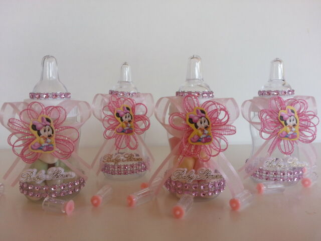 12 Minnie Mouse Pink Fillable Bottles Baby Shower Favors Prizes Girl