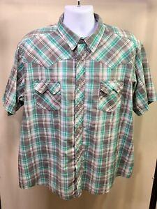 WRANGLER-Men-039-s-Western-Cowboy-Gray-Green-Plaid-Pearl-Snap-Shirt-Short-Sleeve-XL