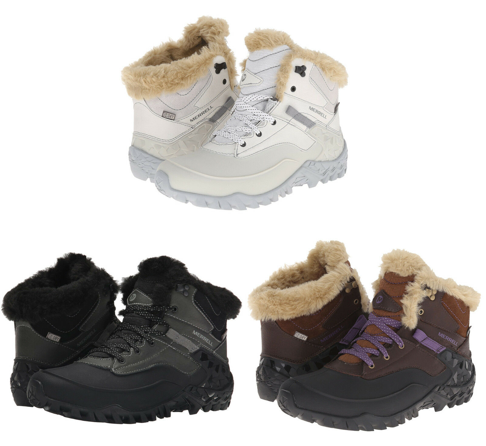 Merrell donna Fluorecein Shell 6 Lace Up Waterproof Winter Snow Ankle stivali