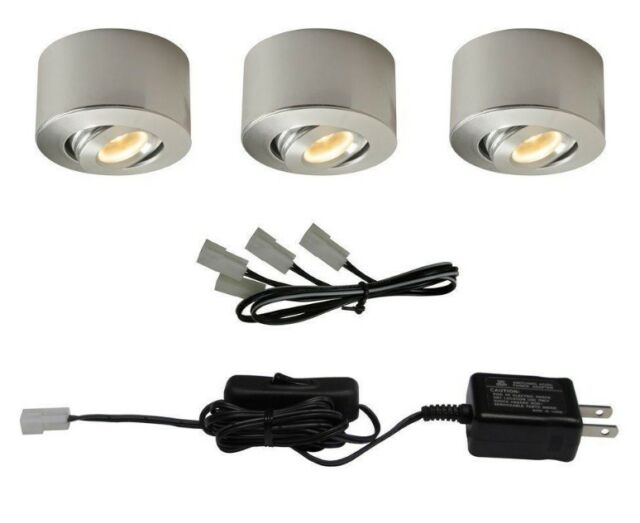 Commercial electric led sandblasted aluminum under cabinet mini puck commercial electric led brushed nickel under cabinet mini puck light 3 pack aloadofball Image collections
