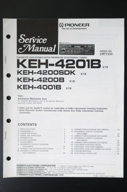 Pioneer Keh 4200sdk  4200b  4001b Service Manual  Instruction  Wiring Diagram