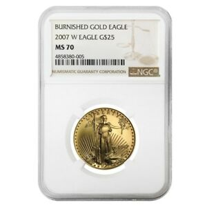 2007-W-1-2-oz-Burnished-25-Gold-American-Eagle-NGC-MS-70