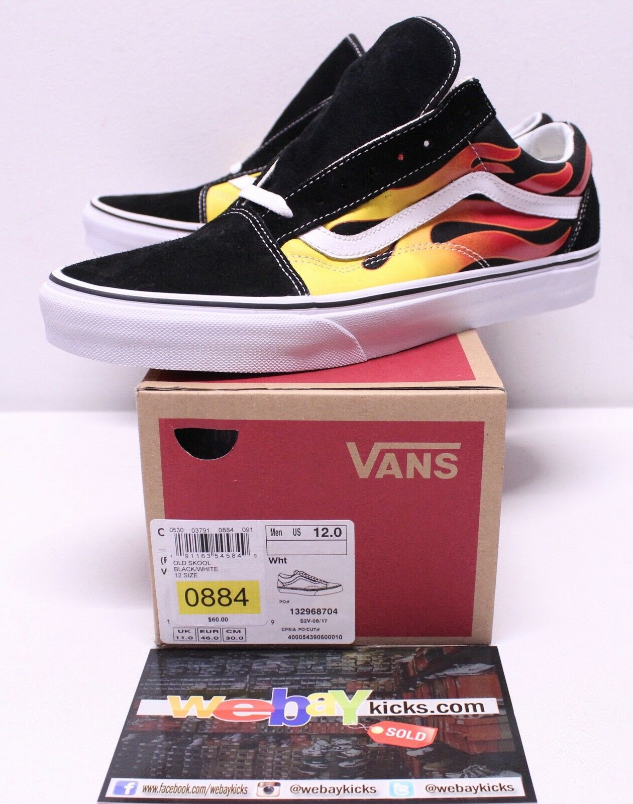 Vans Old Skool Flames Black Red White Sneakers Men's Size 12 Brand New