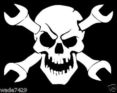 Skull MECHANIC Wrench Decal Sticker Truck CAR window Funny White Vinyl