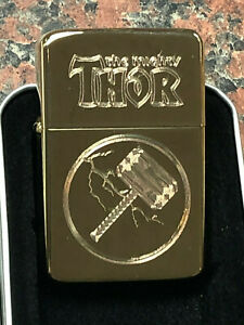 THOR-logo-LIGHTER-gold-finish-with-Gift-Box-Marvel-Avengers-The-Mighty-Mjolnir