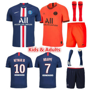 watch e103b 932bf Details about Football Kits MBAPPE 7 Soccer Suits Kids Adults Jersey Strip  Sports Outfit Socks