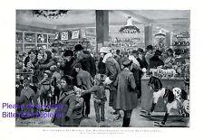 Spielzeugladen an Weihnachten XL 1925 Druck Kinder Spielzeug Spielzeuggeschäft