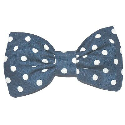 "Clothing, Shoes & Accessories Navy White Polka Dot Spot Cotton Fabric 4"" Handmade Rockabilly Hair Bow Clip 336"