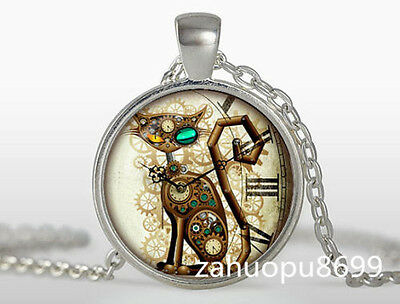 Vintage Steampunk Cat Cabochon Silver plated Glass Chain Pendant Necklace #03dy