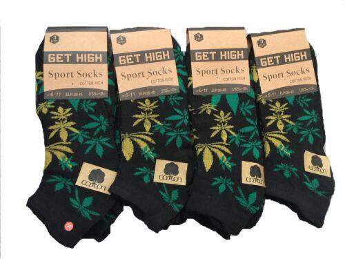 Homme Trainer Chaussettes Ganja Weed Leaf Print Cannabis riche en coton Chaussettes Taille 6-11