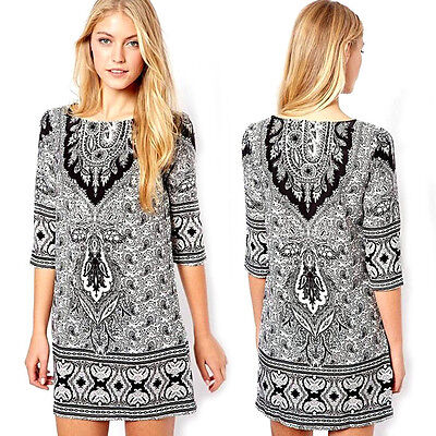 2015 Retro Bohemian Women Floral Print Casual Dress Mini Loose Evening Dress