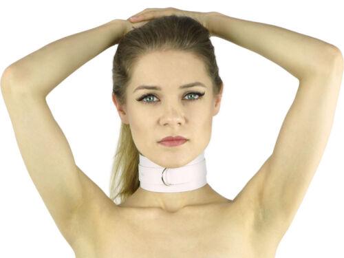 Slave Halsband mit O-Ring Bondage Leder-Halsband weiß ArNr.446