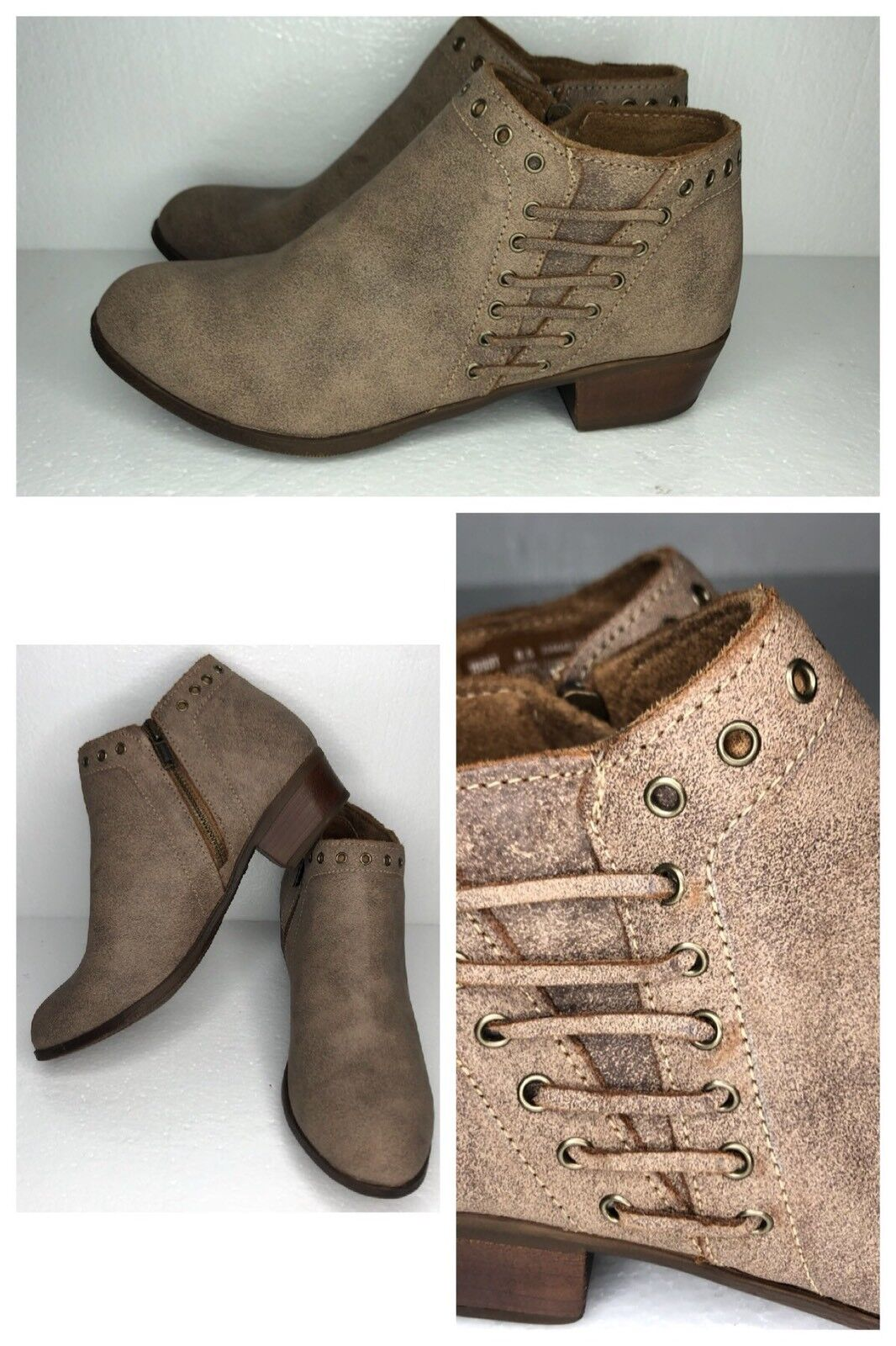 Minnetonka Women's Brown Leather Low Mid Cut Boots Size 8.5 1533T - Never Worn