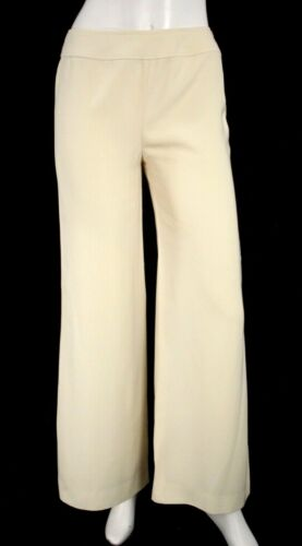 CHANEL Ivory Wool Blend Crepe Wide Leg Dress Pants