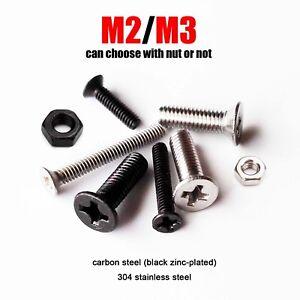 50pcs Metric Thread M2 M3 Hex Socket Allen Flat Countersunk Head Screw Bolt Nut