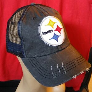Image is loading Pittsburg-Steelers-Distressed-Trucker-Hat-Low-Profile -Cotton- b08a91469de