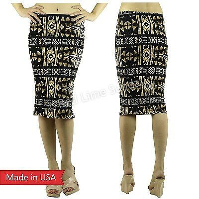 Women Beige Black Tie Dye Aztec Tribal Ethnic Print Cotton Pencil Tube Skirt USA