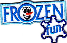 """""""FROZEN FUN"""" -  Iron On Embroidered Applique Patch /Olaf, Snowman, Winter,Games"""