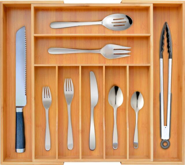 Bamboo Kitchen Drawer Organizer Expandable Silverware Utensil Holder