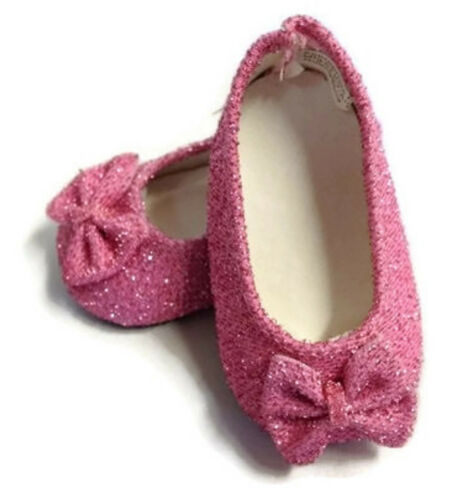 "Pink Glitter Bow Shoes made for 18"" American Girl Doll Clothes"