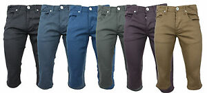 Mens-Shorts-Skinny-Stretch-Twill-Chino-Knee-Length-28-30-32-34-36-38-40