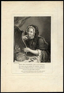 Antique-Master-Print-GIRL-MIRROR-JEWELRY-Lepicie-Coypel-ca-1730