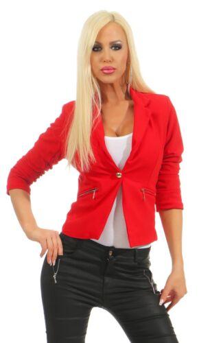 10866 Taillierter Damen Blazer Jacke Elegant Kurzjacke Stretch Jäckchen Reverse
