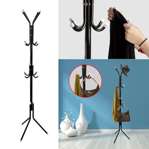 12 Hook Metal Coat Rack Hanger Stand 3 Tier Hat Bag ClothesStorage Tree Style #