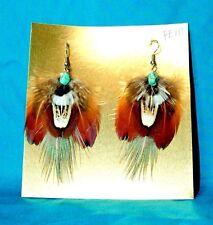 Pheasant Feather Earrings w Real Turquoise Stone Regalia FREE SHIPPING FE10