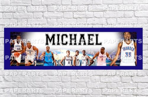 Personalized NBA OKC Thunder Name Poster with Border Mat Art Wall Custom Banner