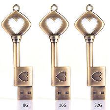 8GB Metal USB2.0 Flash Memory Drive Stick Pen Thumb Key Cute Heart Disk